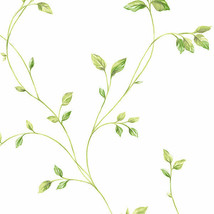 Watercolor Leaves Wallpaper Green Norwall Wallcovering KC28550 - $40.99
