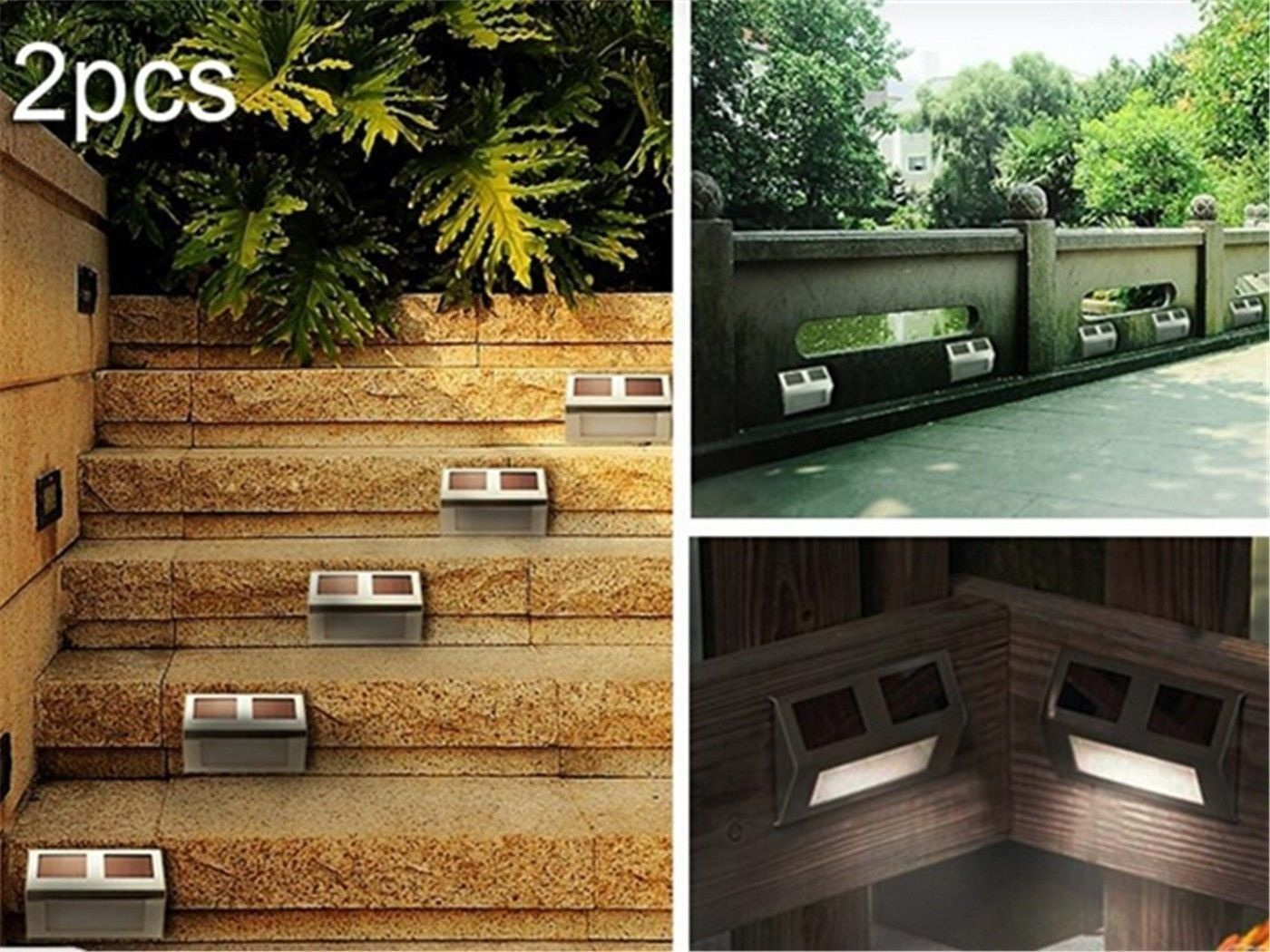 2Pcs Solar LED Step Door Fence Wall Outdoor Garden Lighting Lamp Lights