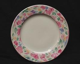 "Bali by Vitromaster 10-3/4"" Stoneware Dinner Plate Pastel Floral Rim Pink Trim - $19.79"