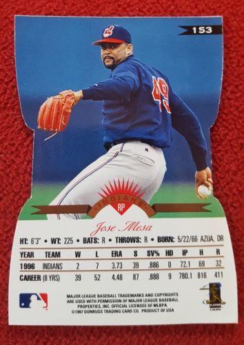 1997 Leaf Fractal Matrix X-Axis Die Cut Indians Baseball Card #153 Jose Mesa