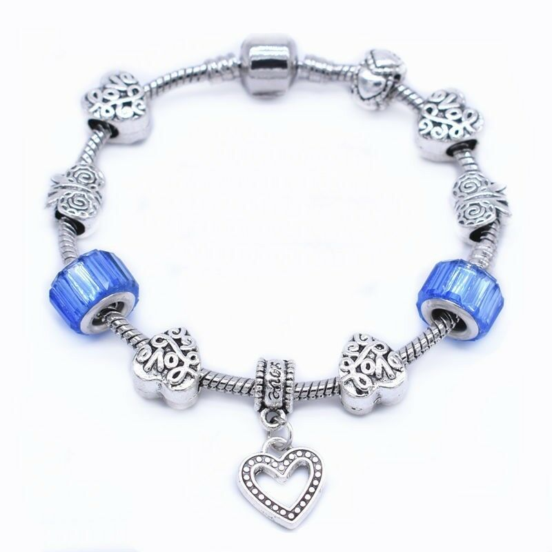 Primary image for Charm Bracelet with Blue Satin Beads 925 Sterling Silver NEW