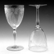 Two Glastonbury Lotus 1019 Etch Wine Goblet Optic Panels Ball Stem - $14.50