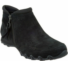Skechers Relaxed Fit Suede Ankle Boots - Zappiest Black 6.5 M - $65.33