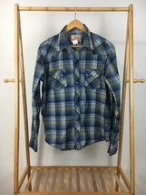 Wrangler Men's American Cowboys Pearl Snap Plaid Long Sleeve Shirt Size L - $14.95