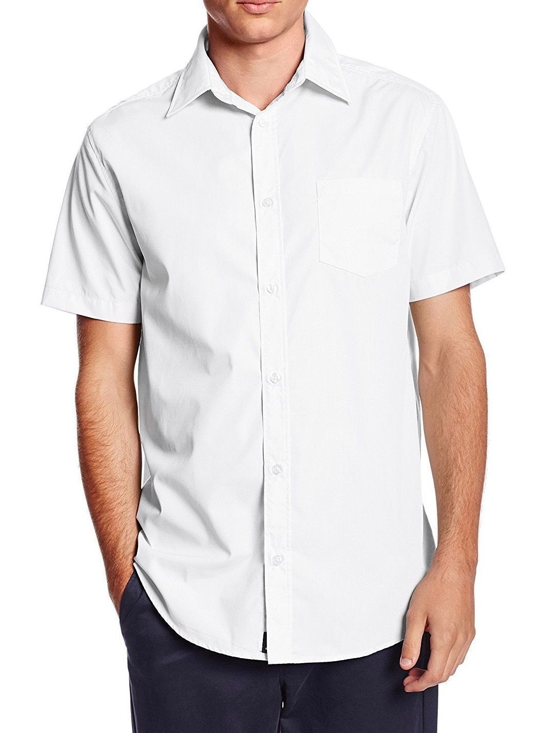 Alberto Cardinali Men's Classic Button Down Short Sleeve Solid Dress Shirt White
