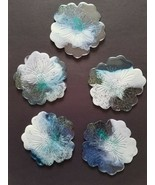 Blue & White Clear Epoxy Resin Low Heat Thin Floral Flower Handmade Coas... - $14.85