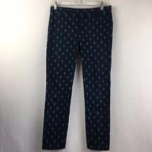 Gap Women's Slim Cropped Navy Blue & Green Diamond Pattern Pants Sz 0 Stretch  - $23.30