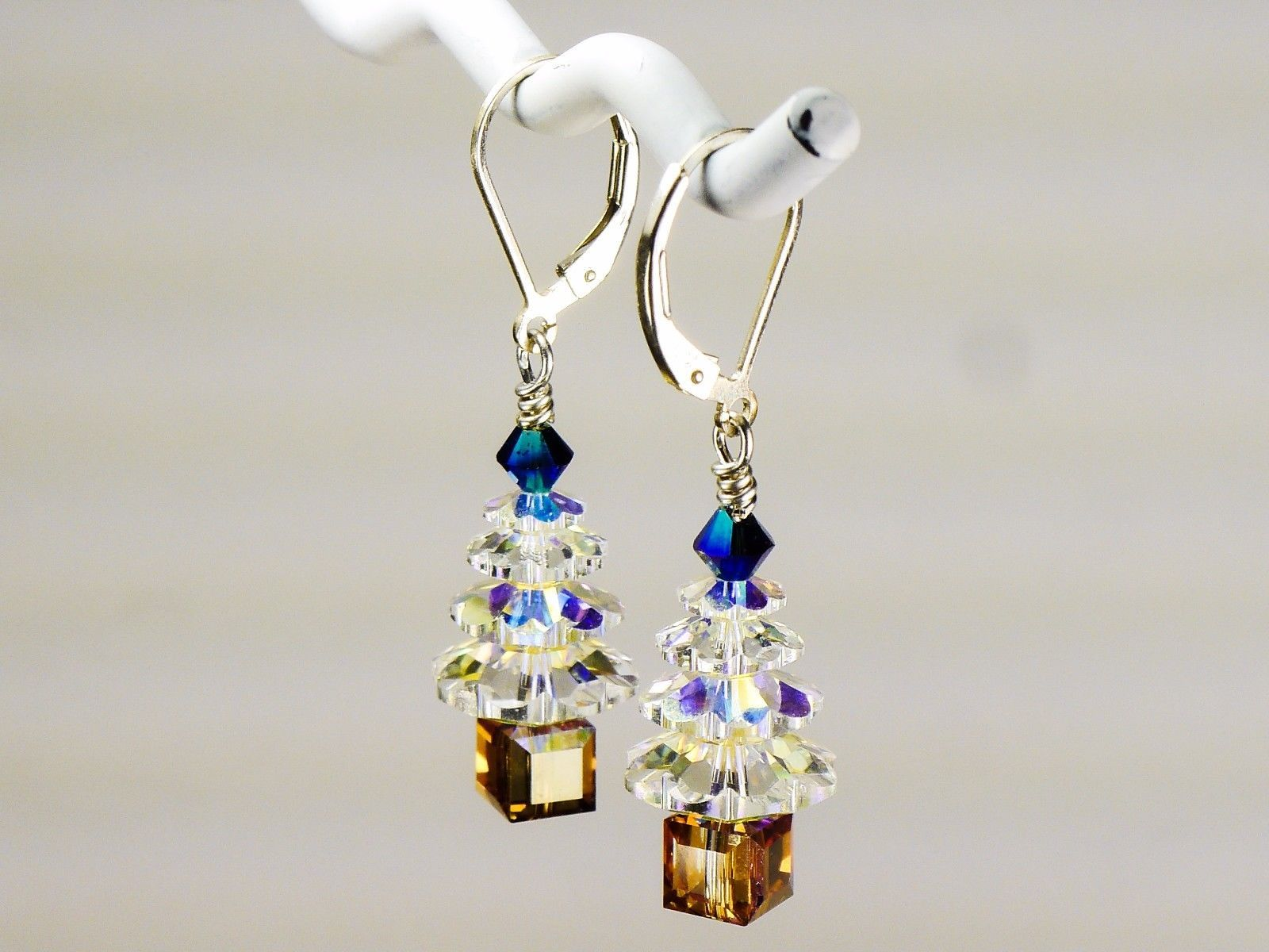 Christmas Tree Earrings / made w/ Swarovski Crystals / Crystal/Blue/Gold/ .925