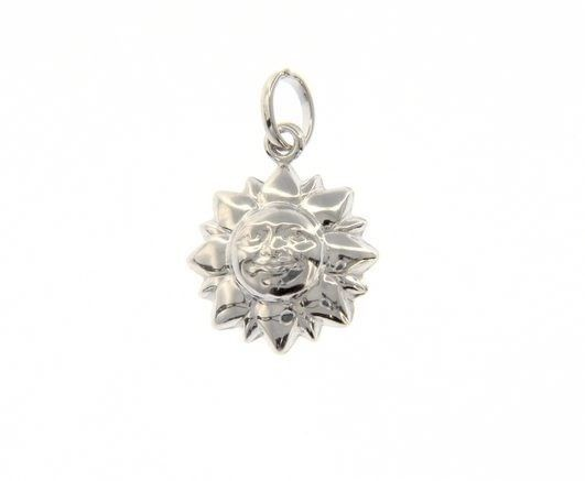 18K WHITE GOLD ROUNDED SMILING SUN PENDANT CHARM 22 MM SMOOTH MADE IN ITALY