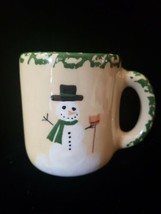 Alpine Pottery Roseville Ohio 1998 Snowman Coffee  Tea Cup Mug Christmas  - $18.99