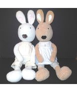 Le Sucre France Set of Two (2) Large Bunny Plush Rabbit Outfits Beige Iv... - $20.00