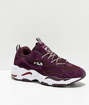 FILA Ray Tracer Bordeaux Chaussures Daim Maille Femmes Neuf - $110.22