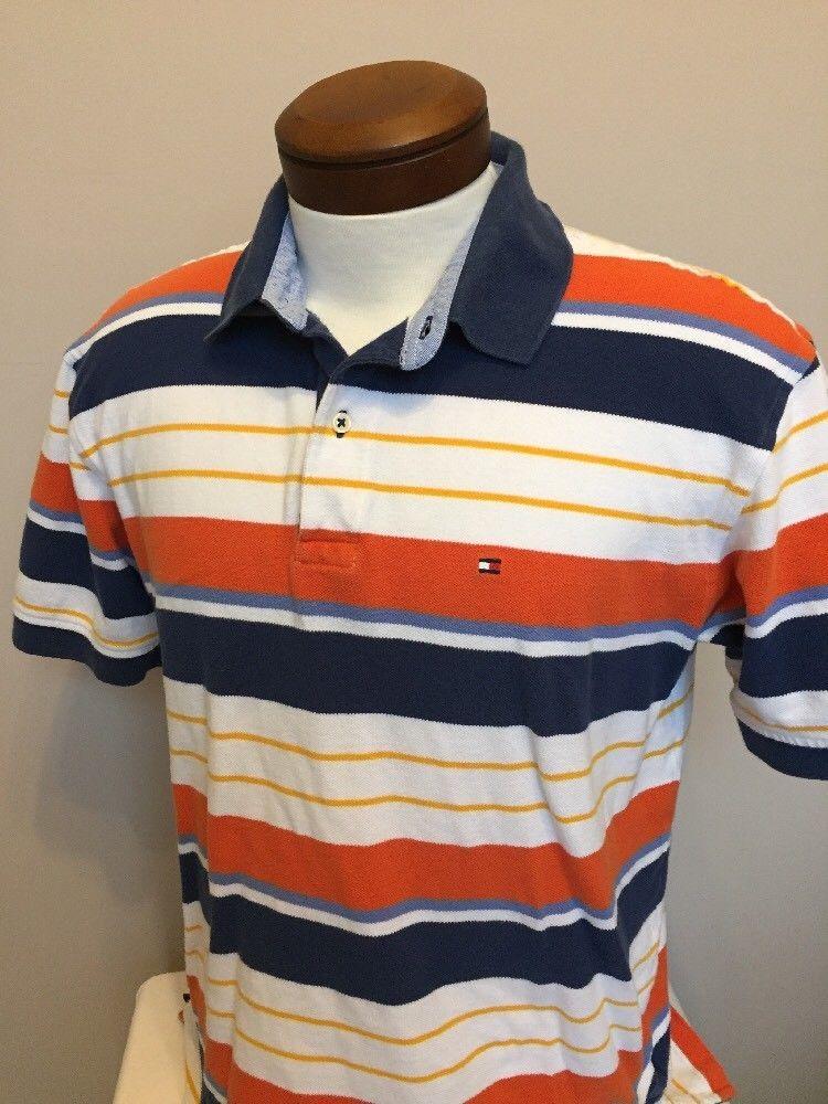 1866023f S l1600. S l1600. Previous. Men's Tommy Hilfiger Polo Shirt L Orange Blue  Stripe Short Sleeve Preppy (EE15)