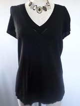 ANN TAYLOR LOFT black Stretch Bell Ruffle Sleeve V-neck size L career of... - $11.75