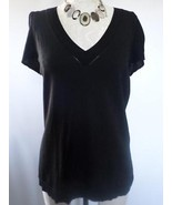 ANN TAYLOR LOFT black Stretch Bell Ruffle Sleeve V-neck size L career of... - $11.75