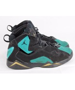 Jordan Retro basketball youth kids leather black green laces size 6.5Y - $22.89