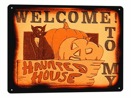 Haunted House Halloween Metal Sign cat scary funny vintage style wall de... - $14.84