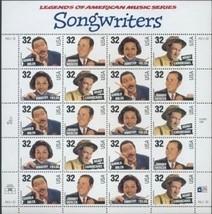 Stamps USPS Scott 3100_3103 Sheet MNH 1996 Legends Amer.Music Songwriter... - $11.87