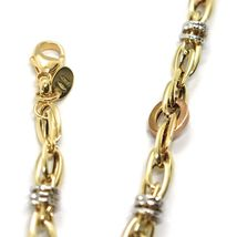 18K YELLOW WHITE ROSE GOLD BRACELET, ALTERNATE CIRCLES AND OVALS, MADE IN ITALY image 3