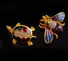Vintage bee brooch Turtle pin set - rhinestone Insect pin - Vintage Fly ... - $75.00