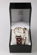 I.N.C. Women's Gold Tone Embossed Faux Leather Strap Studs 38mm Watch + Bracelet