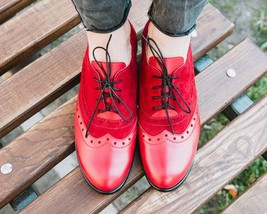 Two Tone Red Suede Oxford Derby Lace Up Real Leather Men Magnificent Dress Shoes - £105.17 GBP - £145.62 GBP