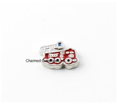 Fire Fighter Truck Emergency Vehicle Occupation Floating Charm For Glass Locket - $1.97