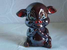 Sitting Japanese Redware Piggy Bank - $12.00