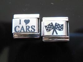 I love Cars Nascar Flag  fits Nomination Classic Italian Charm Bracelet 9mm - $3.10+