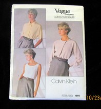 Vogue Sewing Pattern Calvin Klein Top and Blouse #1860 Uncut FF Size 10 - $19.99