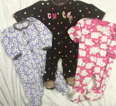Carters Fleece Blanket Sleeper Pajamas Lot Baby Girls 6 Months - $24.98