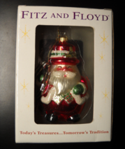 Fitz And Floyd Christmas Ornament Glass Santa Wreath Original Presentati... - $12.99