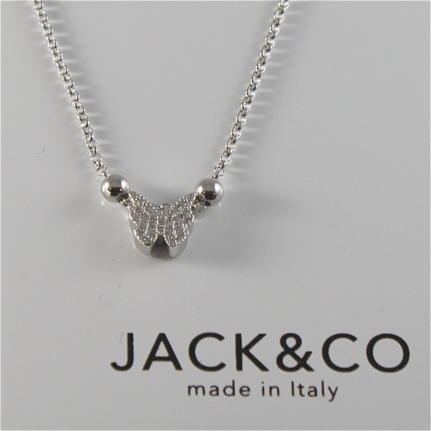 CHAIN TO RINGS 925 SILVER JACK&CO WITH BUTTERFLY WITH ZIRCON JCN0525