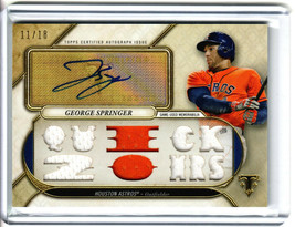 """2017 Topps Triple Threads George Springer 3 Patch Auto /18 """"Quick 20 HRs"""" - $44.55"""