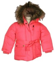 J Crew Crewcuts Girl's Furry Hooded Puffer Jacket Pink 3 02720 Def NO BELT - $45.99