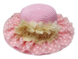 Summer Fashion Sun Hat For Kids With Flower Decor&White Point Pattern Pink