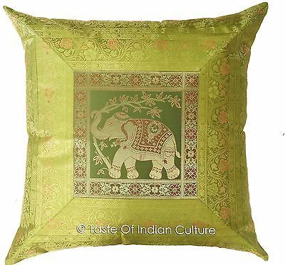 "Primary image for Green 24"" Elephant Pillow Cushion Cover Handmade Brocade Sofa Throw Home Decor"