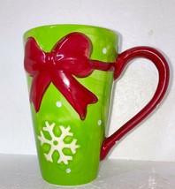 Snowflake and Polka Dot Green and Red Winter Coffee Cocoa Mug CHRISTMAS ... - $9.10