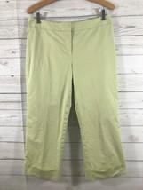 Ann Taylor Cropped Capri Pants Size 8 Pear Yellow Stretch Cotton Spandex - $9.85