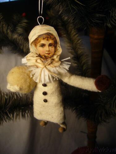 Vintage Inspired Spun Cotton Christmas Baby Girl Ornament no. CH 79