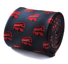 Navy with Red London Bus Pattern Mens Tie Routemaster FT659