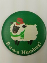 Round 1983  Hallmark Holiday Christmas Pin Green Sheep B-A-A-A Humbug! - $9.65