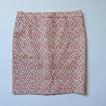 J.Crew Embroidered Ikat Pencil in Pumpkin Orange Textured Cotton Skirt 8 - $18.99