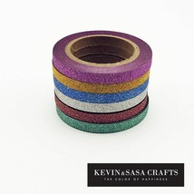 KEVIN&SASA® 6Pcs/Sell Washi Tape Glitter Color Japanese Stationery - £3.52 GBP