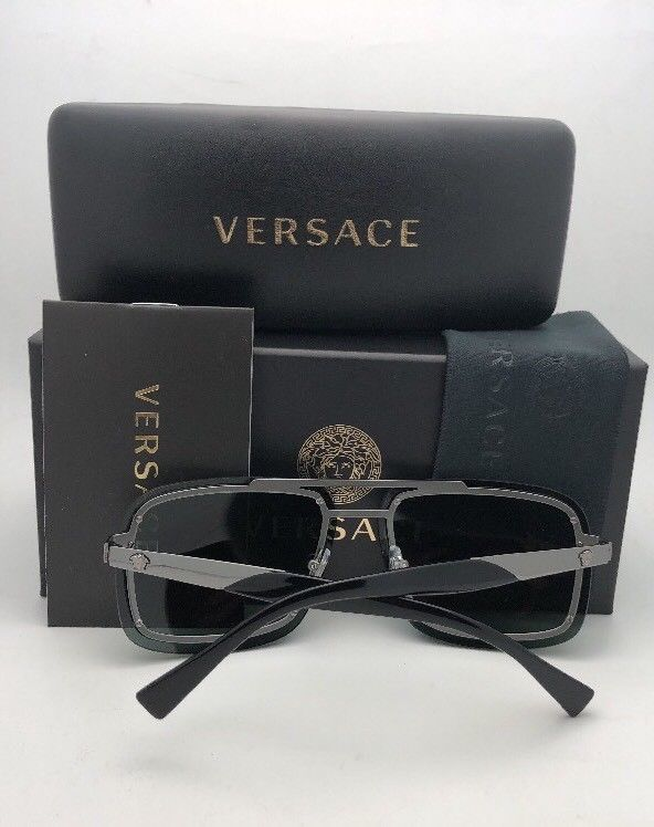 New VERSACE Sunglasses MOD.2183 1252/87 63-12  Gold & Black Aviator w/ Grey Lens