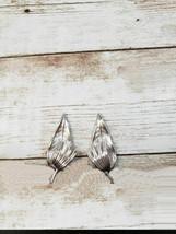 Vintage Clip On Earrings Silver Tone Leaf - $12.99