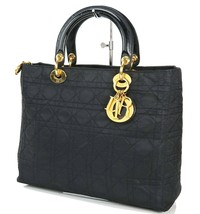 Auth Christian Dior Black Quilted Nylon Lady Dior Hand Bag Purse #34566 - $459.00