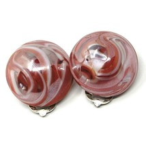 Earrings Antica Murrina Venezia, OR478A25, half Sphere, Red, 20mm, Clips image 1