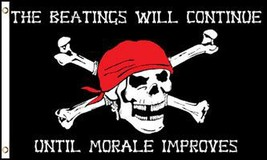 BEATINGS WILL CONTINUE MARALE IMPROVES 3X5 FLAG FL763 banner PIRATES w g... - $6.27