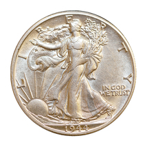 1944 D Walking Liberty Half Dollar - Choice BU / MS / UNC - $43.00